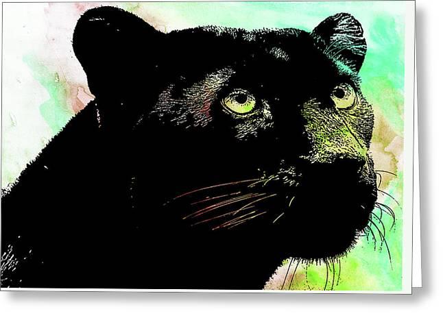 Black Panther Animal Art Greeting Card