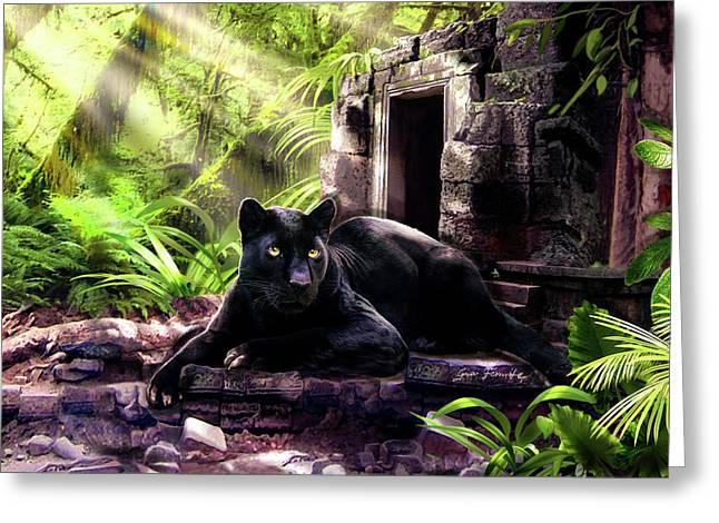 Black Panther Custodian Of Ancient Temple Ruins  Greeting Card by Regina Femrite