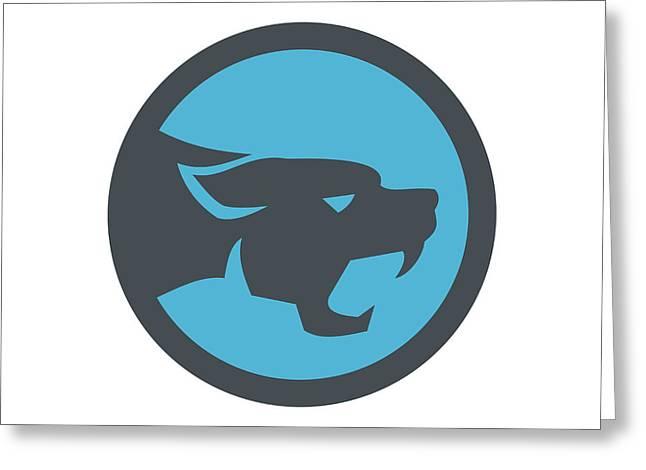 Black Panther Head Growling Circle Retro Greeting Card by Aloysius Patrimonio