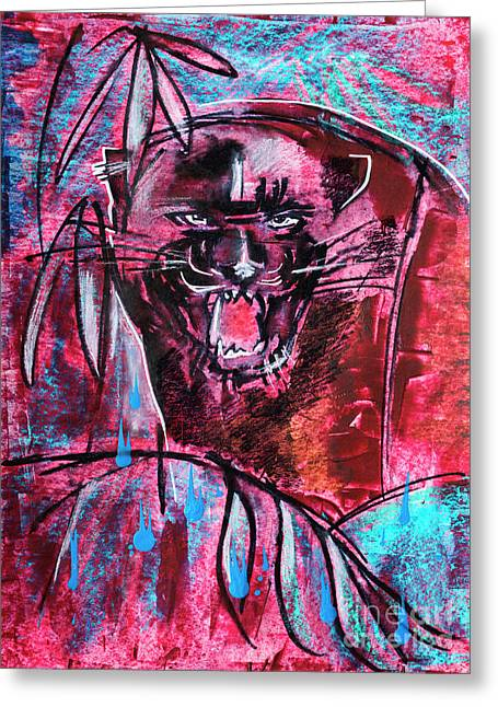 Greeting Card featuring the drawing Black Panther,  Original Painting by Ariadna De Raadt