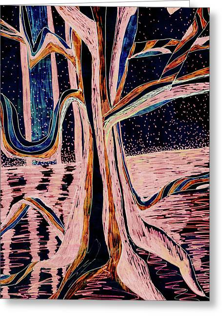 Black-peach Moonlight River Tree Greeting Card