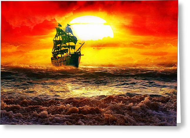Recently Sold -  - Pirate Ships Greeting Cards - Black Pearl Greeting Card by Koko Priyanto