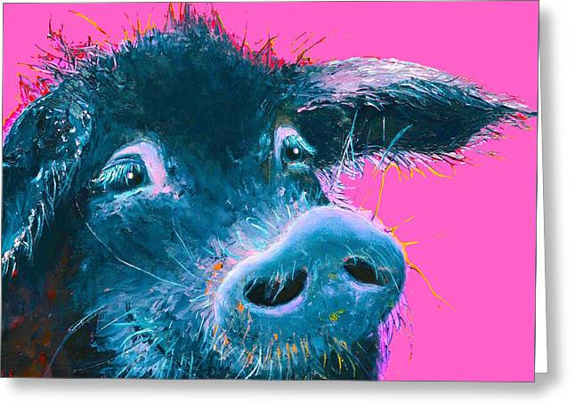 Black Pig Painting On Pink Background Greeting Card