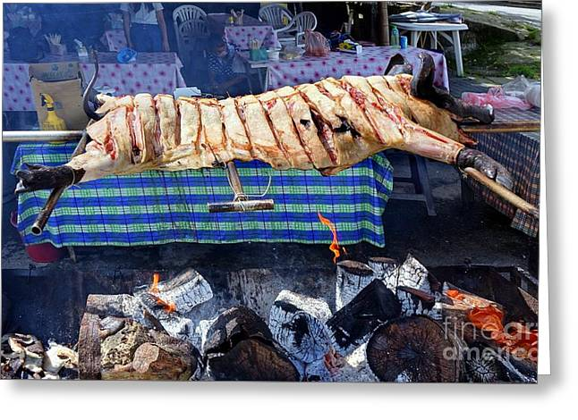 Greeting Card featuring the photograph Black Pig Spit Roasted In Taiwan by Yali Shi