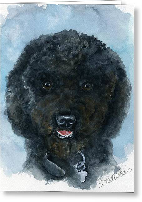Black Poodle Puppy Greeting Card