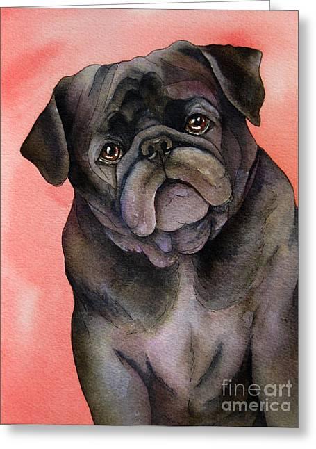 Black Pug Greeting Card by Cherilynn Wood