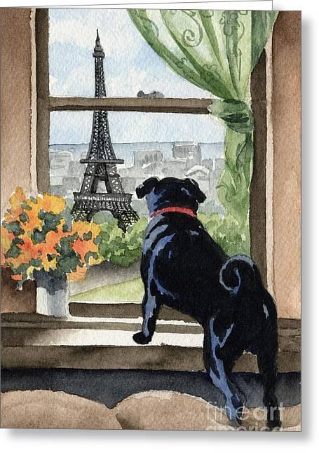 Black Pug In Paris Greeting Card