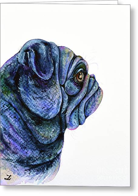 Greeting Card featuring the painting Black Pug by Zaira Dzhaubaeva