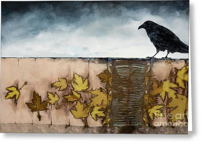 Black Raven Sits Above Scattered Leaves Greeting Card by Carolyn Doe