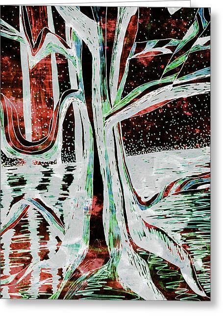 Black-red Moonlight River Tree Greeting Card
