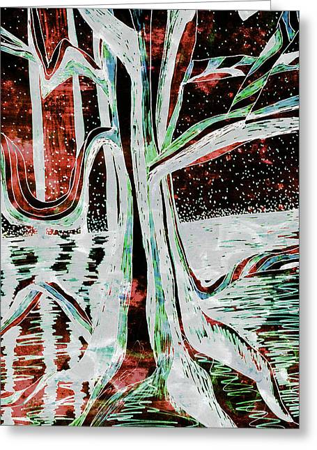 Black-red Moonlight River Tree Greeting Card
