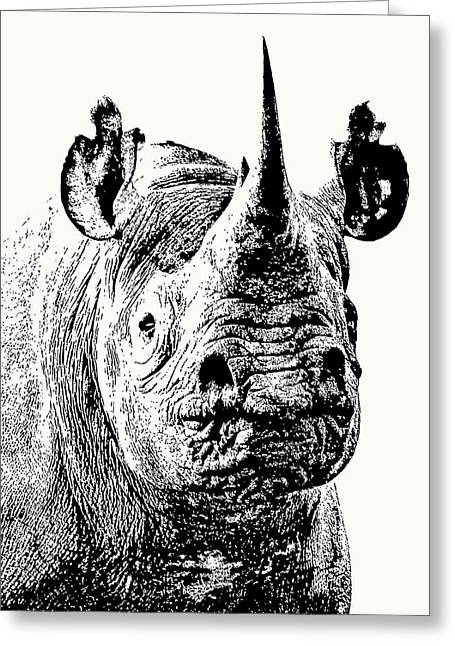 Black Rhino Portrait Greeting Card
