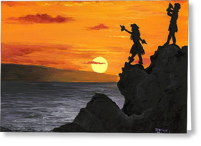 Greeting Card featuring the painting Black Rock Maui by Darice Machel McGuire