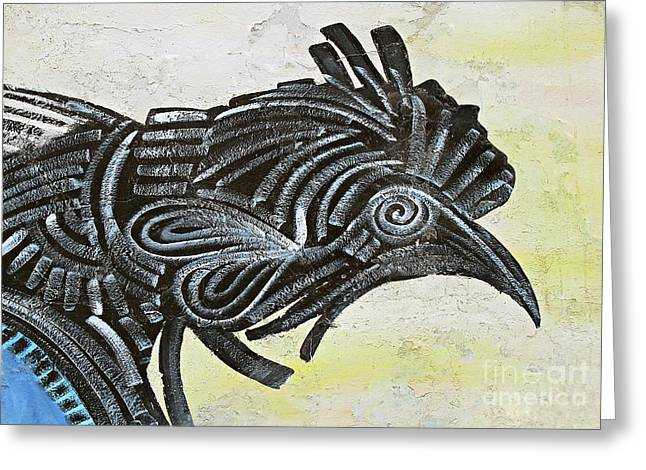 Black Rooster Greeting Card by Ethna Gillespie
