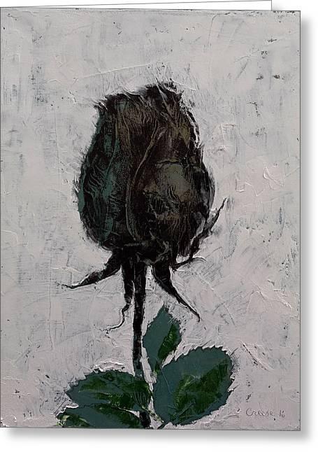Black Rosebud Greeting Card