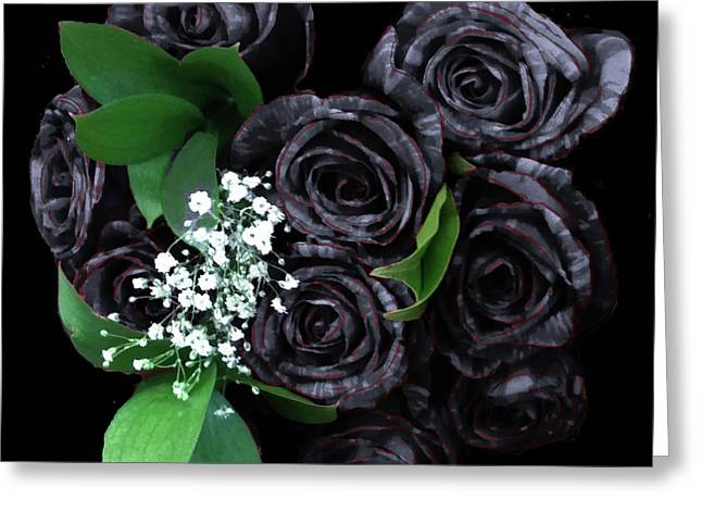 Black Roses Bouquet Greeting Card