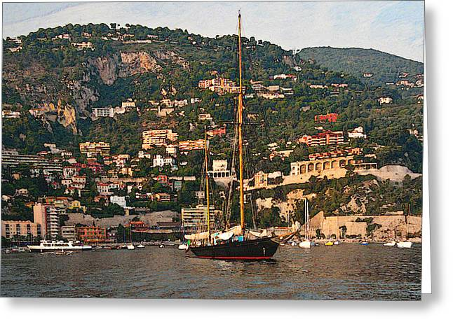 Black Sailboat At Villefranche II Greeting Card