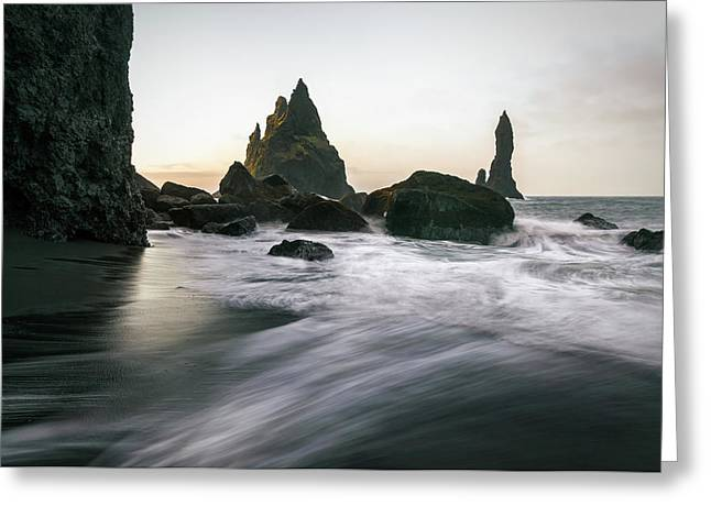 Black Sand Beach In Iceland Greeting Card