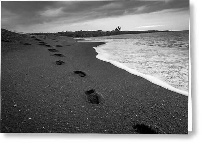 Black Sand Footprints Greeting Card