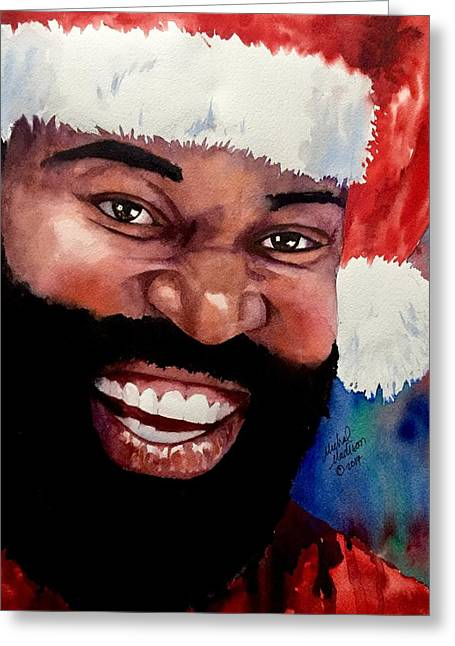 Greeting Card featuring the painting Black Santa by Michal Madison