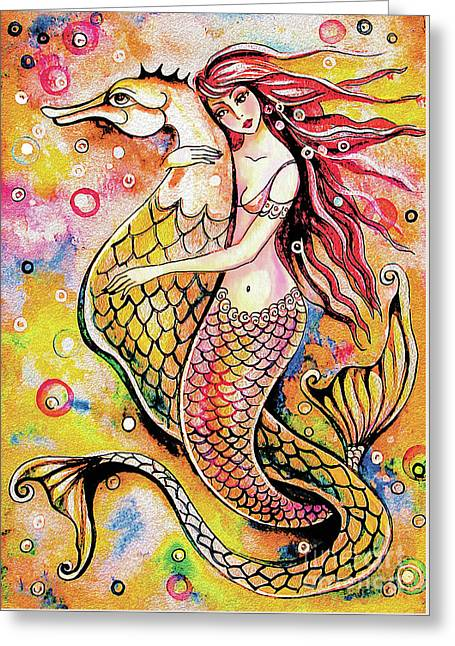 Black Sea Mermaid Greeting Card