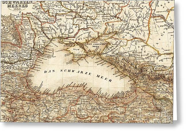 Black Sea Vintage Map Greeting Card by ELITE IMAGE photography By Chad McDermott