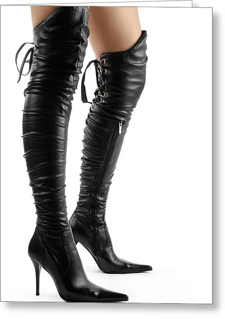 Black Sexy Thigh High Stiletto Boots Greeting Card by Oleksiy Maksymenko