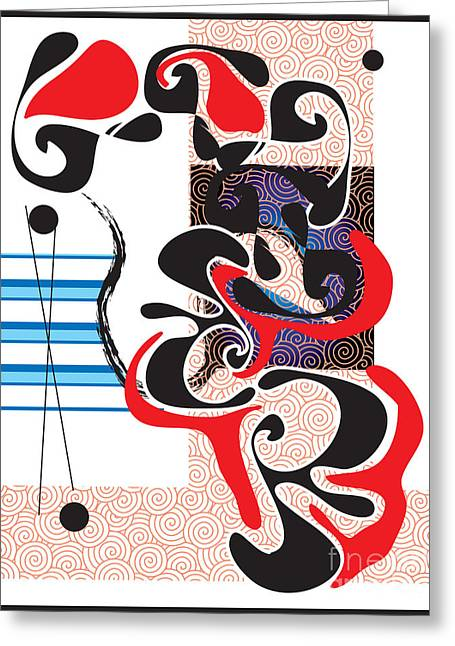 Greeting Card featuring the digital art Black Shapes With Red by Christine Perry