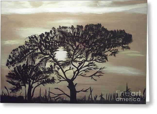 Black Silhouette Tree Greeting Card