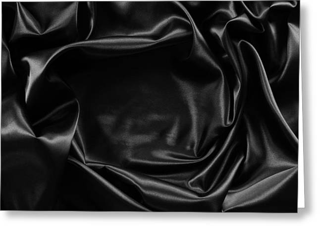 Black Silk  Greeting Card by Les Cunliffe