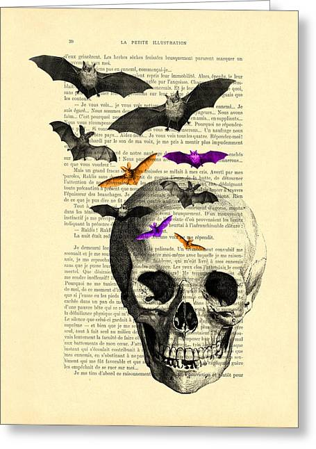Black Skull And Bats On A Dictionary Page Greeting Card by Madame Memento