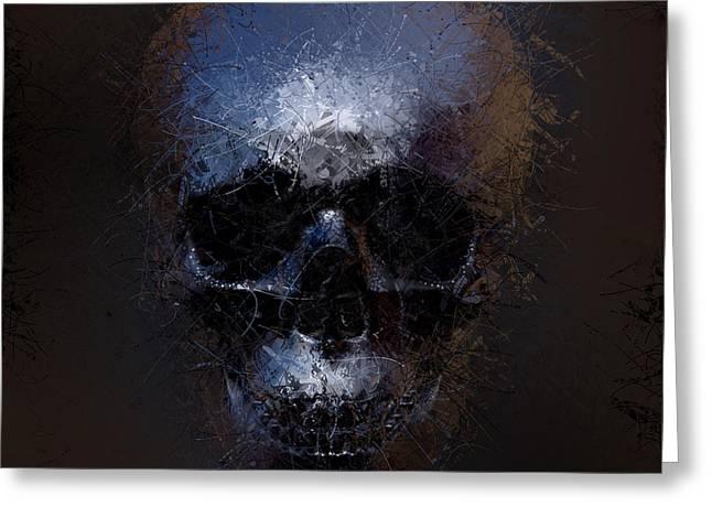 Black Skull Greeting Card by Vitaliy Gladkiy