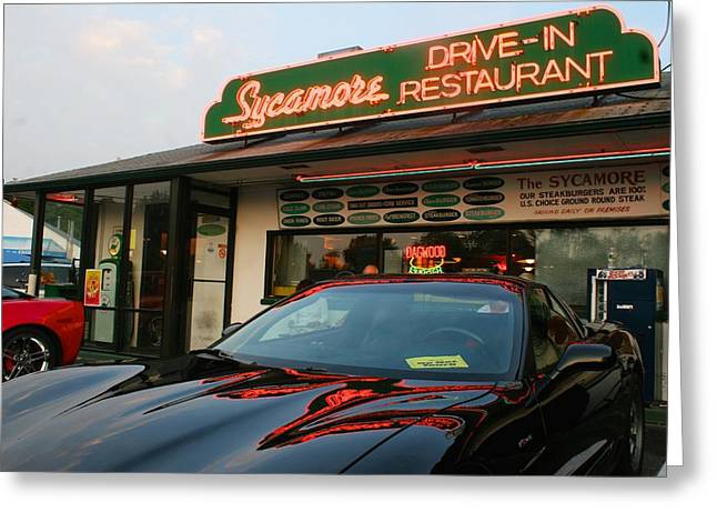 Black Sports Car In Front Of The Sycamore Greeting Card
