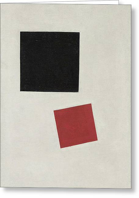Black Square And Red Square, Color Masses In The Fourth Dimension Greeting Card by Kazimir Malevich