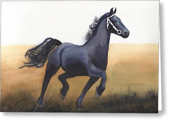 Black Stallion Greeting Card by Kathy Nesseth