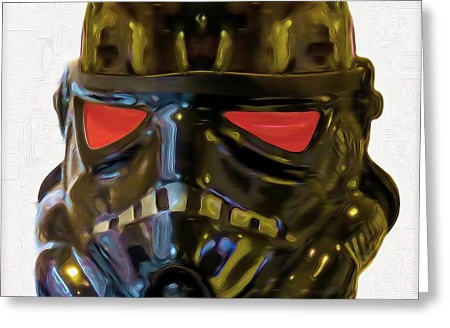 Black Stormtrooper - Da Greeting Card by Leonardo Digenio