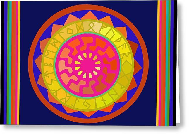 Black Sun Mandala Rune Calendar Greeting Card