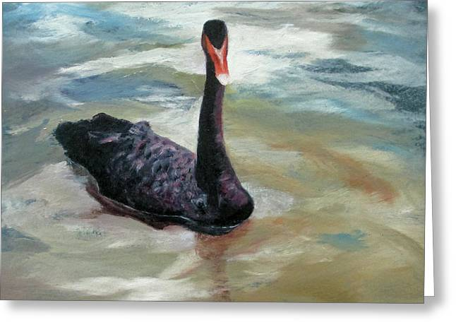 Black Swan Greeting Card by Roseann Gilmore