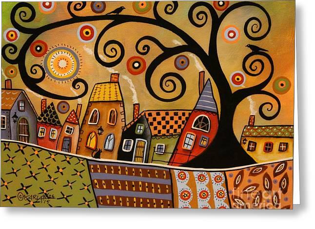 Black Swirl Tree Landscape 1 Greeting Card by Karla Gerard