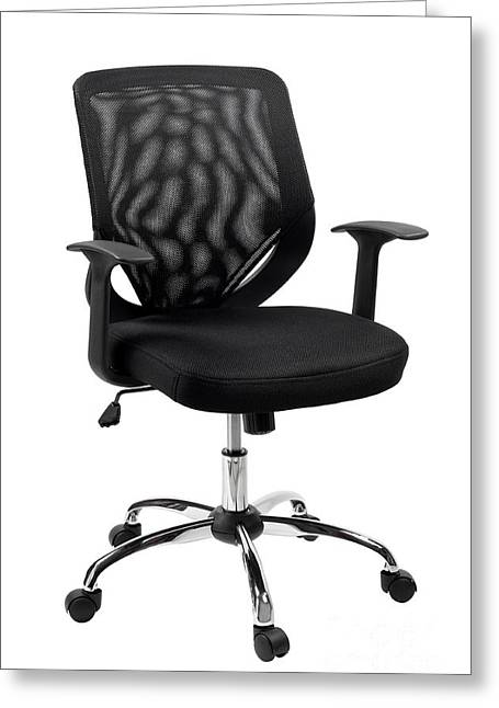 Black Swivel Office Chair Or Desk Chair  Greeting Card by Arletta Cwalina
