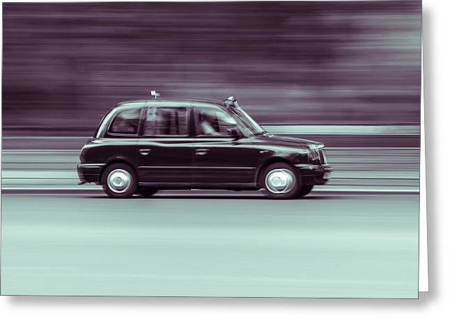 Black Taxi Bw Blur Greeting Card