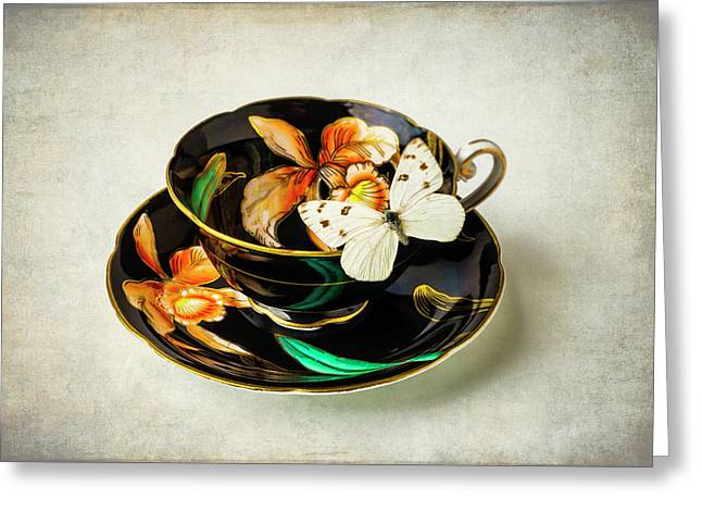 Black Tea Cup And White Butterfly Greeting Card by Garry Gay