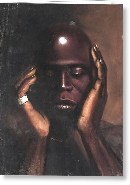 African Pastels Greeting Cards - Black Thought Greeting Card by L Cooper