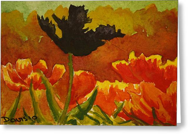 Black Tulip Greeting Card