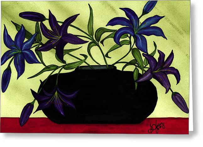 Black Vase With Lilies Greeting Card by Stephanie  Jolley