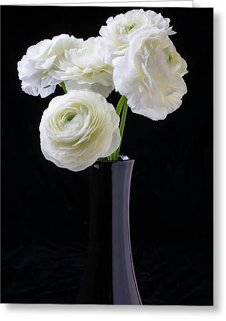 Black Vase With White Ranunculus Greeting Card