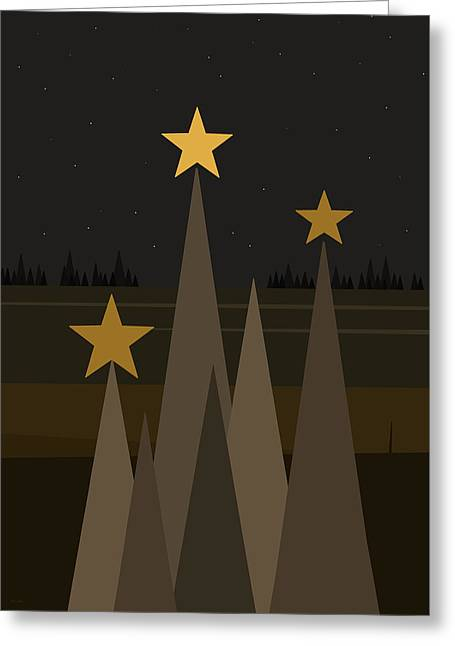 Black Velvet Night Sky Greeting Card by Val Arie
