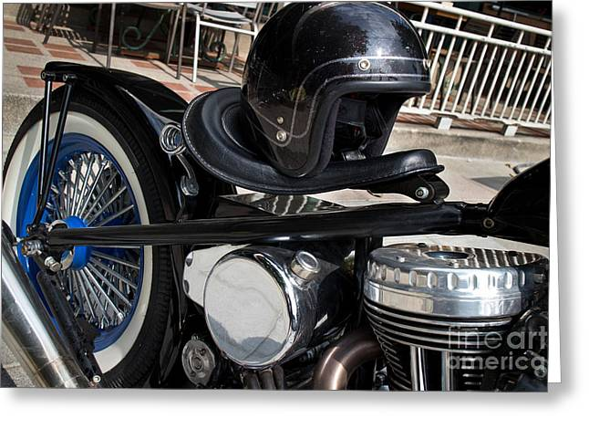 Black Vintage Style Motorcycle With Chrome And Black Helmet Greeting Card by Jason Rosette