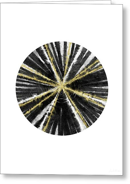 Black, White And Gold Ball- Art By Linda Woods Greeting Card by Linda Woods