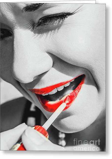 Black White And Red Lipgloss Pinup Greeting Card by Jorgo Photography - Wall Art Gallery
